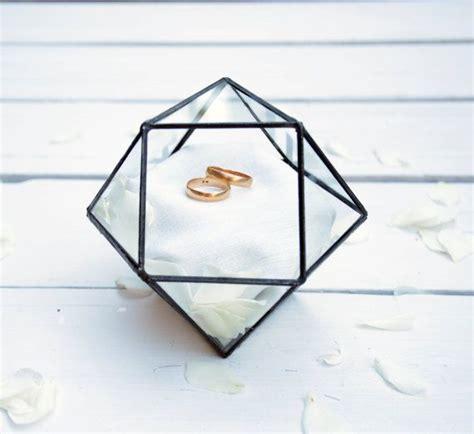wedding ring holder wedding ring box cuboctahedron glass terrarium glass geometric