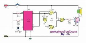 Door Buzzer Sound Circuit Using Cd4001
