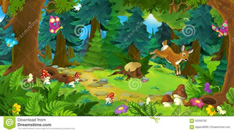 Cartoon Background Of A Forest Stock Illustration