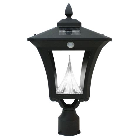 gama sonic weston solar black outdoor post wall light with
