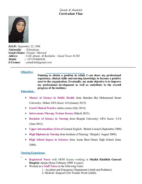Marital Status Married Resume by Zainab Cv
