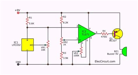 Temperature Detector Circuit With Buzzer Alarm
