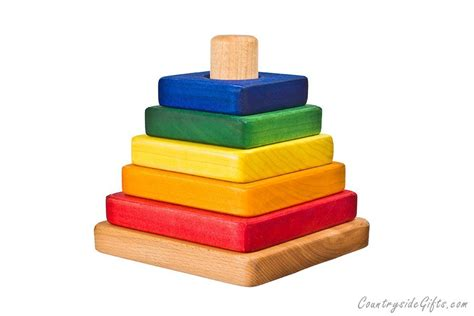 colored hardwood square stacker toy countryside gifts llc