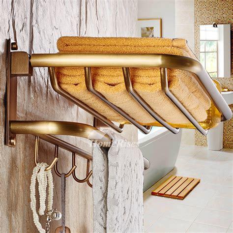 antique brass folding wall shelves bathroom  layer
