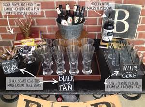 masculine bar display 40th birthday party food displays