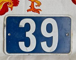 Vintage French enamel house number 39...blue by ...