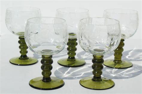 vintage roemer rhein wine glasses green stem etched glass