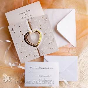 romantic gold and white heart folded wedding invitations With cheap gold and white wedding invitations