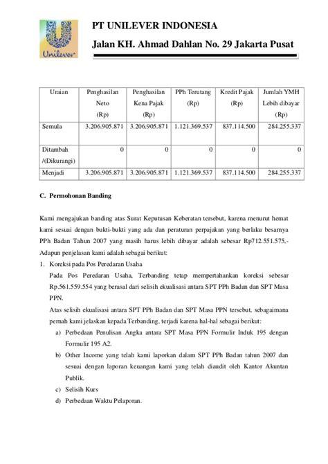 contoh surat banding pajak zaka firma aditya 8111410061