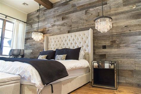 pbw tobacco barn grey wood wall master bedroom rustic