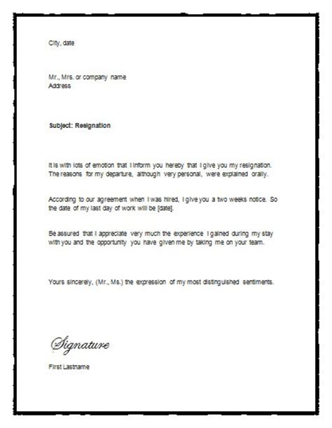 weeks notice letter templates word excel