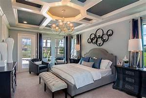 A, Beautiful, Coffered, Ceiling, With, An, Elegant, Chandelier