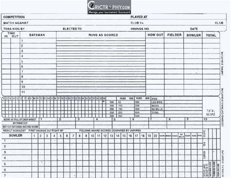Free Printable Cricket Score Sheet