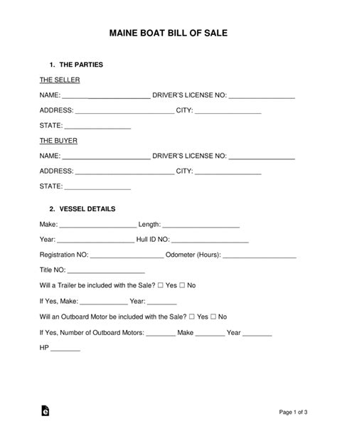 Boat Bill Of Sale Maine free maine boat bill of sale form word pdf eforms