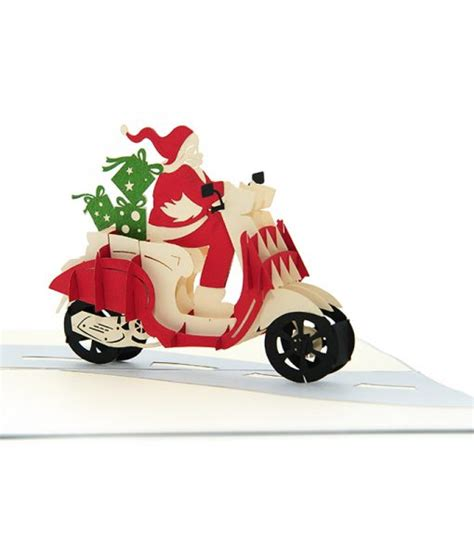 santa scooter pop up card christmas 3d card high quality