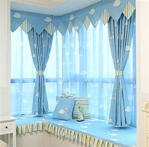 blue sky clouds curtain bedroom living room study children
