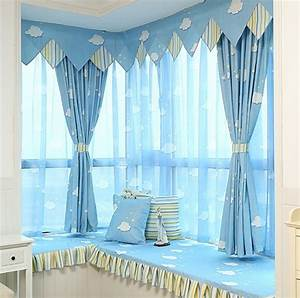 blue sky clouds curtain bedroom living room study children With sky blue curtains for bedroom