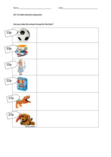 money change from various amounts by iamjessjones teaching resources tes