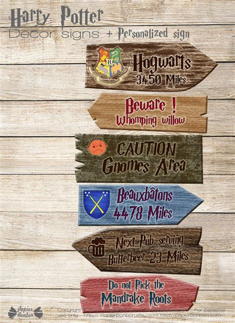 harry potter decor signs papier bonbon