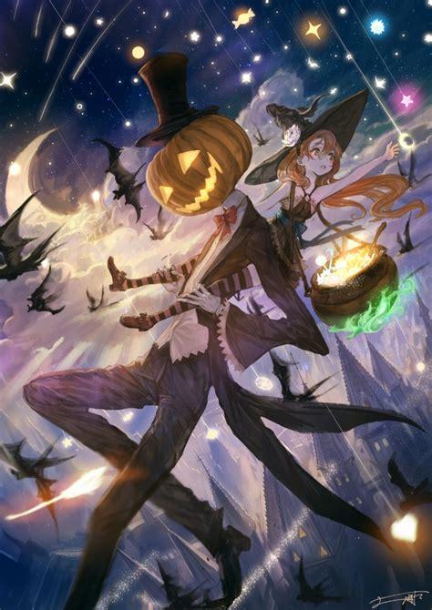 wallpaper anime girl halloween sky falling stars