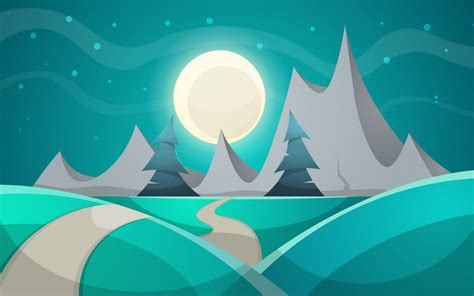wallpaper night cartoon illustration full moon