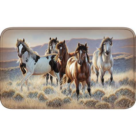 Southwest Rugs: Running Horses Comfort Mat Lone Star
