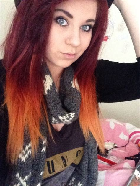 Dip Dye Hair Black To Red Red To Orange Dip Dye Hair