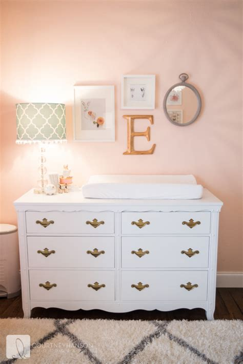 white changing table dresser coral white and gold nursery project nursery