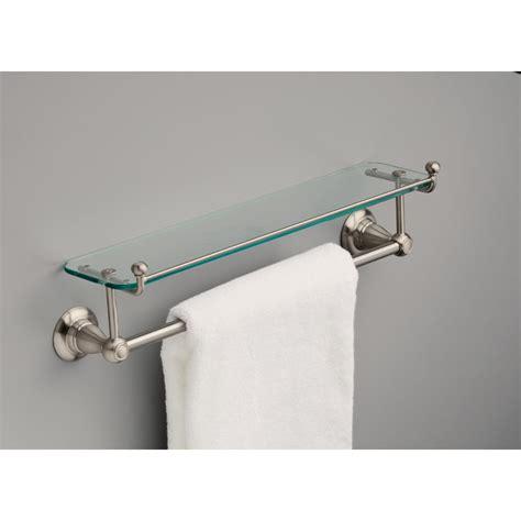 Delta Bathroom Glass Shelf by Delta 78410 Bn Porter 18 In Towel Bar With Glass Shelf In