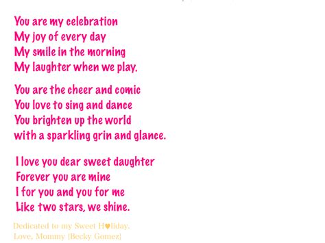 Love My Daughter Poems