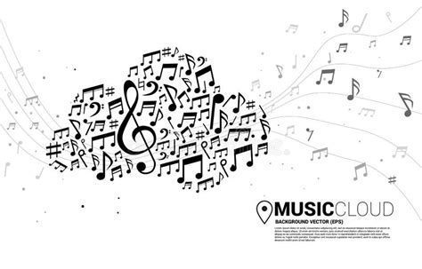 note shaped cloud stock illustration illustration