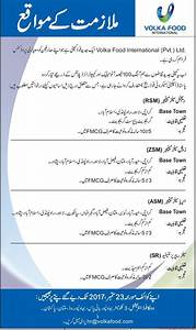 Volka Food International Private Limited Jobs 2017 - PaperPk