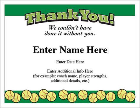 certificate softball template show appreciation