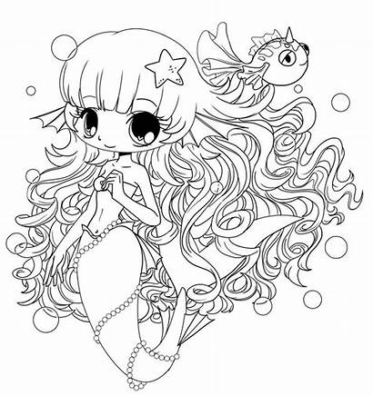 Coloring Chibi Pages Mermaid Dolls