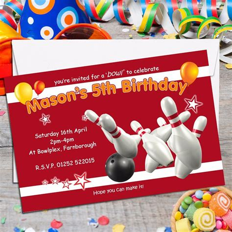 10 Personalised Ten Pin Bowling Birthday Party Invitations