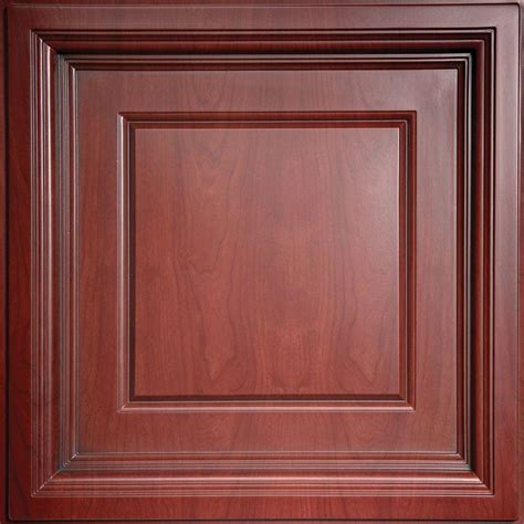Ceilume Coffered Ceiling Tiles by Ceilume Faux Wood Cherry 2 Ft X 2 Ft Lay In