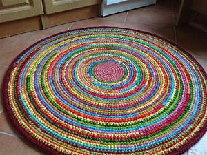 fun colore tapis au crochet rond fait sur commande With tapis rond coloré