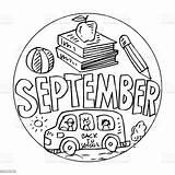 September Coloring Septiembre Colorear Ungar Coloritura Colouring Pagine Geitjes Jonge Drawing Vector Dibujos Pagina Scuolabus Schoolbus Foer Skolbuss Med Settembre sketch template