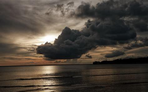 beautiful dark clouds   sea hd wallpaper
