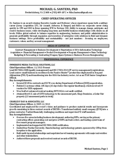 acquisition coo program manager in washington dc resume
