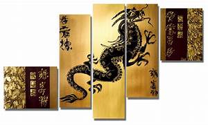 Dragon asian art painting 5 panel 58 x 36in asian for Asian wall art