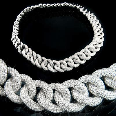 silver necklace mens 18k gold womens cuban link pave necklace 22 4