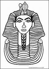 Tut Tutankhamun King Coloring Pharaoh Pages Egyptian Egypt Ancient Colouring Drawing Sarcophagus Draw Costume Colour Tomb Nefertiti Clipart Mask Death sketch template