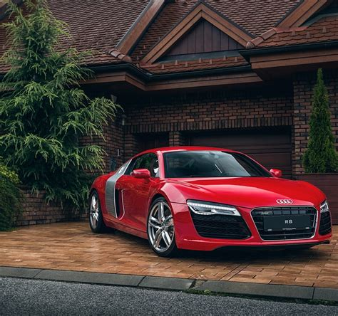 Audi R8 Red Car House Garage Full Hd Wallpaper
