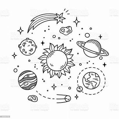 Doodle Space Illustration Vector Astronomy Cartoon Vectors