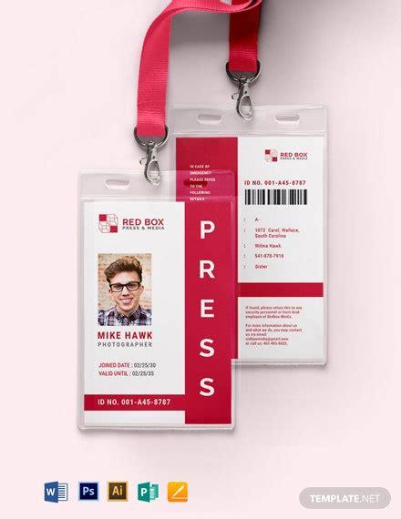 press id card templates word  psd