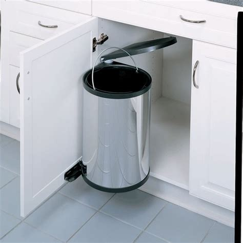 kitchen garbage cabinet rev a shelf single trash pullout 15 liter stainless steel 1758