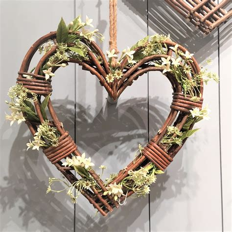 Large Natural Wicker Hanging Heart Wreath Tutti Decor Ltd