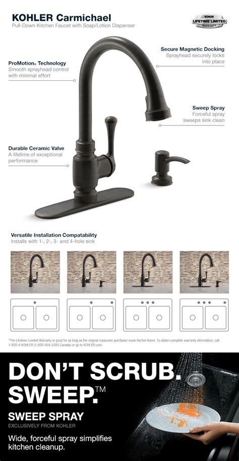 kohler carmichael single handle pull  sprayer kitchen