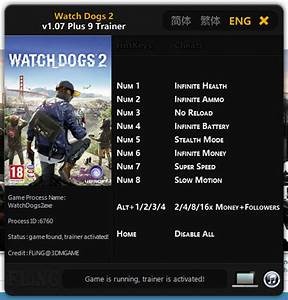 Watch Dogs 2 Trainer 9 V107 FLiNG Download Cheats